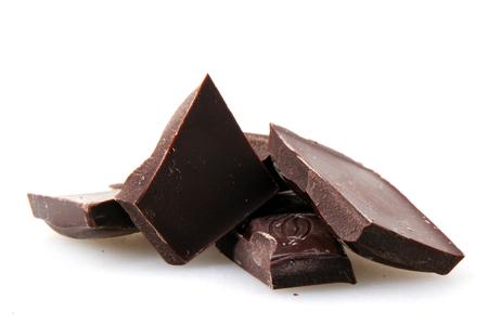 Black chocolate isolated on white background.