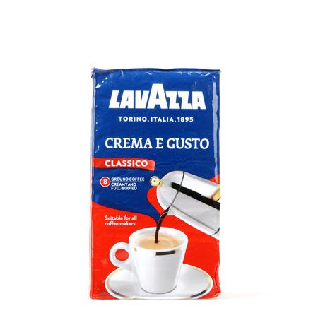 Pomorie, Bulgaria - Februari 03, 2018: Lavazza coffee isolated on white background. Lavazza – The Italian Coffee Company since 1895.
