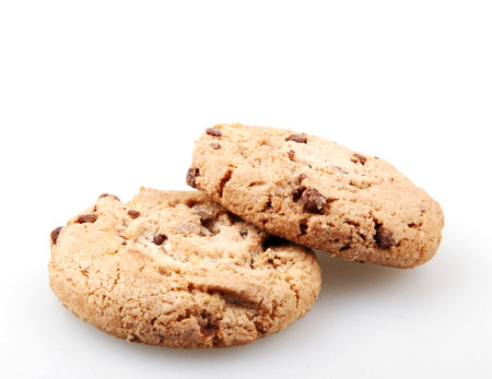 Chocolate chip cookie isolated on white.