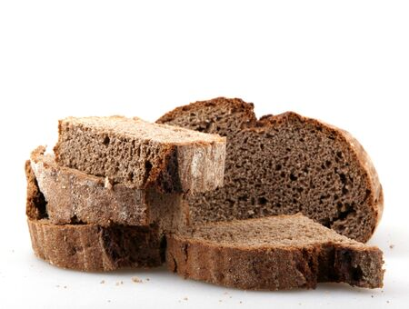 Black bread isolated on white