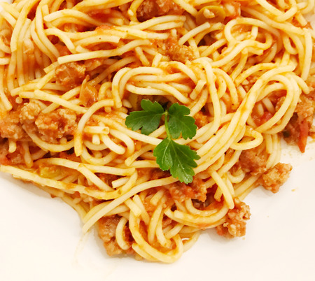 High Angle View Of Spaghetti Served In Plate Stock Photo