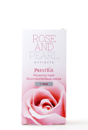 Pomorie, Bulgaria - March 17, 2018: Repairing Mask - Rose And Pearl Extracts Isolated On White Background. Editorial