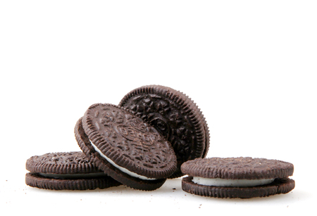 Pomorie, Bulgaria - April 02, 2018: Oreo isolated on white background. Oreo is a sandwich cookie consisting of two chocolate disks with a sweet cream filling in between. Editorial