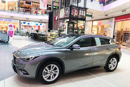 Burgas, Bulgaria - May 29, 2018: INFINITI Q30 Sport Compact Crossover for sale at Mall Galleria Burgas. Mall Galleria Burgas is the first modern shopping centre in the city.