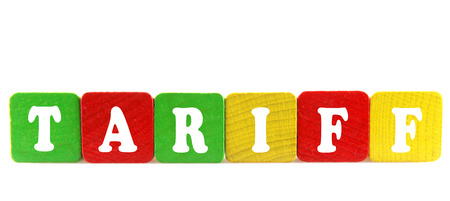tariff - isolated text in wooden building blocks