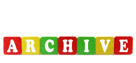 archive - isolated text in wooden building blocks