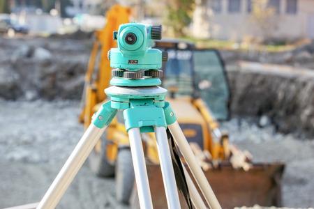 Theodolite survey outdoors. Stock Photo