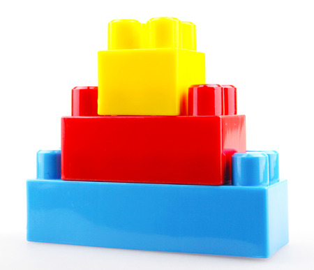 Plastic Building Blocks Isolated On White.