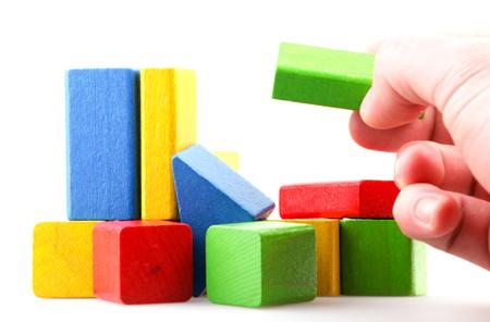 Wooden Building Blocks Set - Childrens Construction Wood Toy Stock fotó
