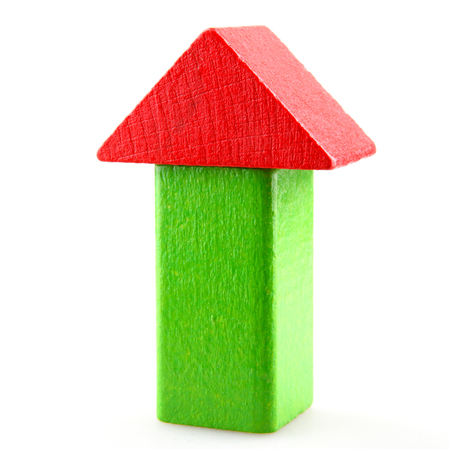 Wooden Building Blocks Set - Childrens Construction Wood Toy 版權商用圖片