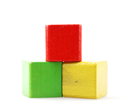Wooden Building Blocks Isolated On White