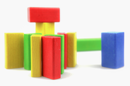 Colorful Wooden Building Blocks Toys Isolated On White