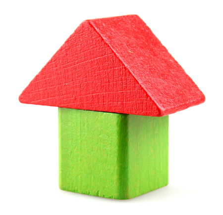 Wooden Building Blocks Isolated On White Background Фото со стока