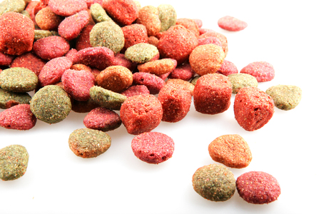 Dried pet food isolated on white background. 版權商用圖片