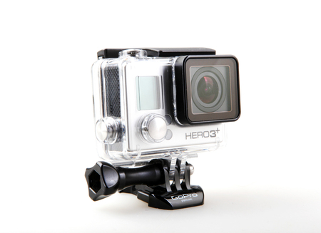 Pomorie, Bulgaria - March 01, 2019: GoPro HERO3+ Black Edition Adventure Camera. GoPro, Inc. Is An American Technology Company Founded In 2002 By Nick Woodman. 報道画像
