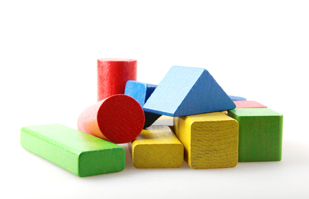 Studio Shot Of Colorful Toy Blocks Against White Background Stock fotó