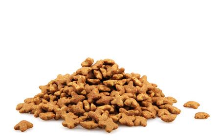 Dry dog food isolated on white background.
