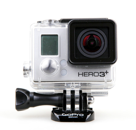 AYTOS, BULGARIA - JULY 07, 2016: GoPro HERO3+ Black Edition isolated on white background. GoPro is a brand of high-definition personal cameras, often used in extreme action video photography.