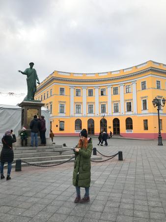 Odessa, Ukraine - November 17, 2017: Square In Front Of The Statue Of The Duc de Richelieu. Editorial