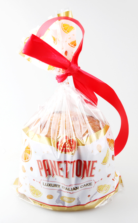 Pomorie, Bulgaria - April 26, 2019: Panettone - Luxury Italian Cake Isolated On White