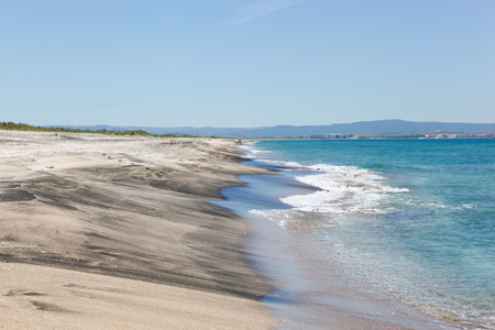 Beautiful Beach And Incredible Sea In Pomorie, Bulgaria. Imagens