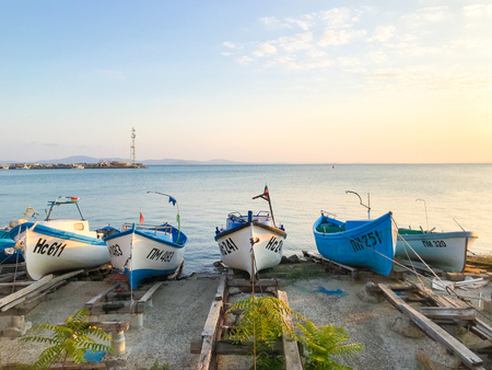 Pomorie, Bulgaria - September 01, 2019: Fishing Boats Stand At The Harbor. Editorial