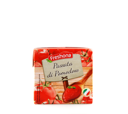 Pomorie, Bulgaria - August 30, 2019: Freshona Tomato Passata - 500 g. Tomato Purée Is A Thick Liquid Made By Cooking And Straining Tomatoes.