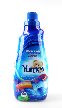 Pomorie, Bulgaria - September 06, 2019: YumoÅŸ is a brand of softeners belonging to Unilever by 2008. In 2008, it was sold to Sun Products, which is already part of Henkel.