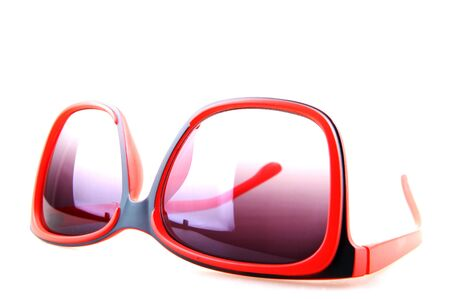 red sunglasses isolated on white.