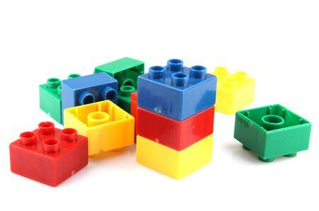 Blocs de construction isolés sur blanc Banque d'images