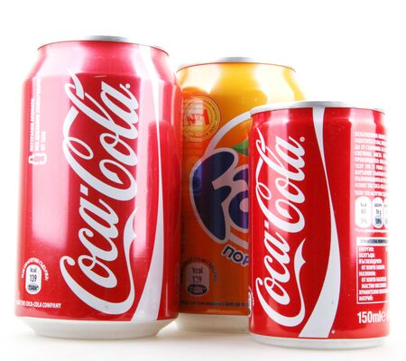 AYTOS, BULGARIA - JANUARY 25, 2014: Global brand of fruit-flavored carbonated soft drinks created by The Coca-Cola Company.