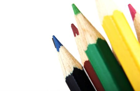 Colour Pencils Isolated On White Background 版權商用圖片