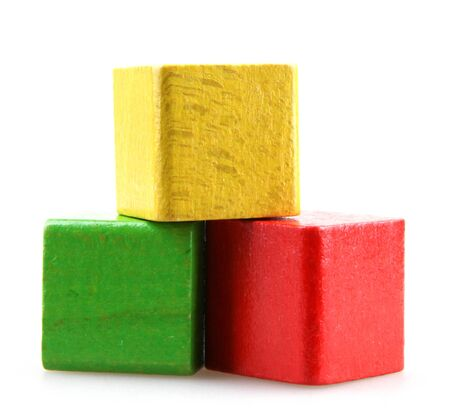 Studio Shot Of Colorful Toy Blocks Against White Background Фото со стока