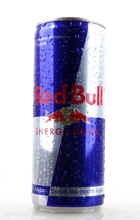 AYTOS, BULGARIA - JANUARY 25, 2014: Red Bull bottle can isolated on white background. Red Bull is an energy drink sold by Austrian company Red Bull GmbH, created in 1987. Stock Photo - 131743370