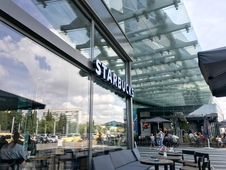 Burgas, Bulgaria - September 12, 2019: Starbucks Store In Mall Galleria Burgas. Starbucks Corporation Is An American Coffee Company And Coffeehouse Chain. Redactioneel
