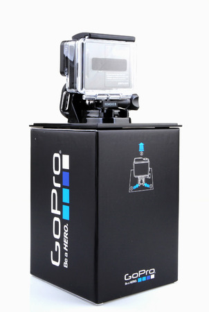 AYTOS, BULGARIA - MARCH 15, 2014: GoPro HERO3 Black Edition isolated on white background. GoPro is a brand of high-definition personal cameras, often used in extreme action video photography.