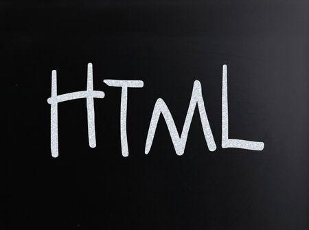 "The word ""HTML"" handwritten with white chalk on a blackboard"