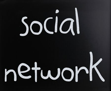 """The word """"Social network"""" handwritten with white chalk on a blackboard"""