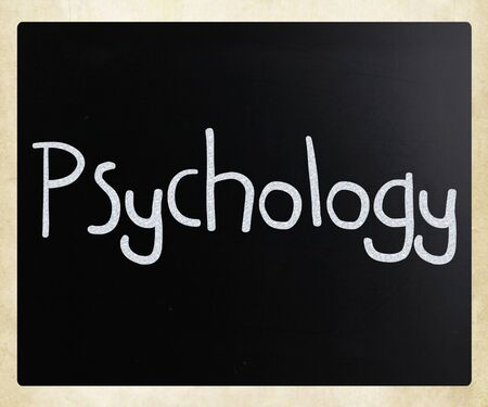 The word 'Psychology' word on a blackboard