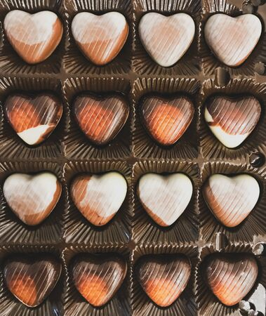 Heart Shaped Chocolates In A Festive Box.
