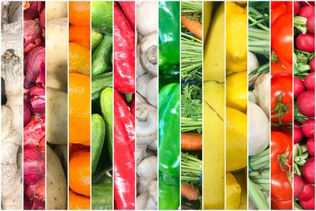 Collage Of Photos With Healthy Organic Fruits And Vegetables. Collection Of Healthy Fresh Food Backgrounds.