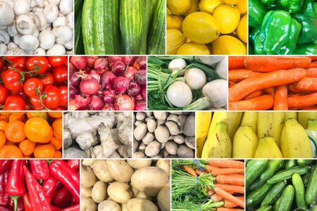 Collage Of Photos With Healthy Organic Fruits And Vegetables. Collection Of Healthy Fresh Food Backgrounds. Reklamní fotografie