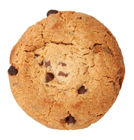Close-Up Of Chocolate Chip Cookie On White Background.