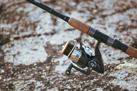 Image of fishing rod with modern reel