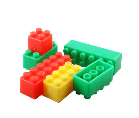 Plastic Building Blocks Toy Isolated On White Background