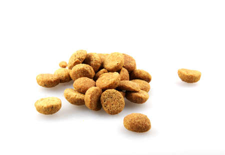 Dry pet food against white background