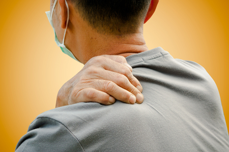back rub: Old man with lelf shoulder pain Stock Photo