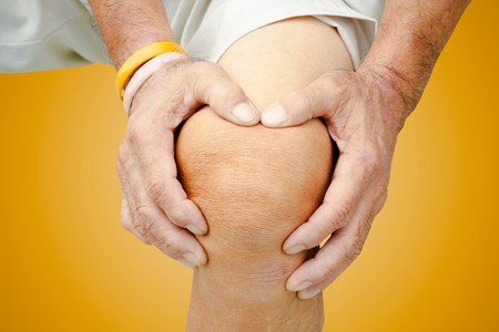 bad feeling: Old man with knee pain and feeling bad