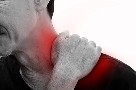 old man on a physical pressure: Old man has pain in left neck