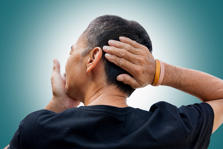 he old: Old man hand holding he head and massaging in pain. Stock Photo